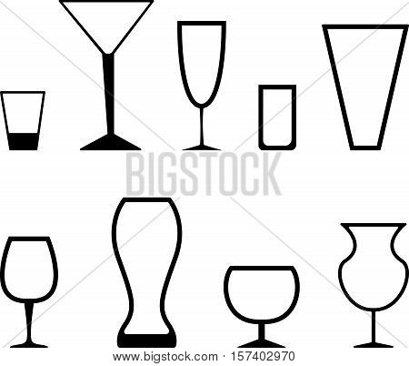 Abstract simple set of black graphic stemware