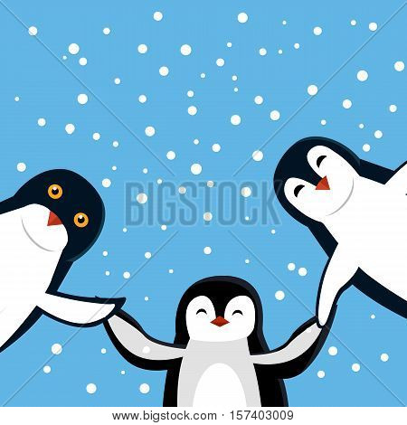 Funny penguins vector. Three smiling funny penguins holding hands on blue background with snowflakes flat illustration. Northern fauna. Winter holidays mood. For kid books, greeting card design poster