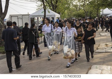 BANGKOK THAILAND - OCT 25 : student volunteer in Sanam Luang area while the funeral of king Bhumibol Adulyadej in Grand Palace on october 25 2016