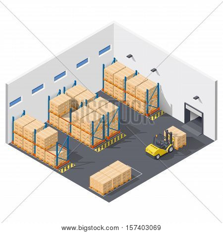 Element infographic presents work inside the warehouse shipment of goods is carried out with a forklift isometric icon set vector graphic illustration