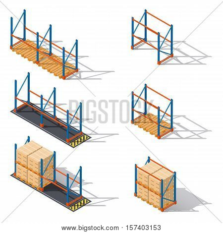 Storage racks for pallets presented in various combinations to use various elements of infographics isometric icons set