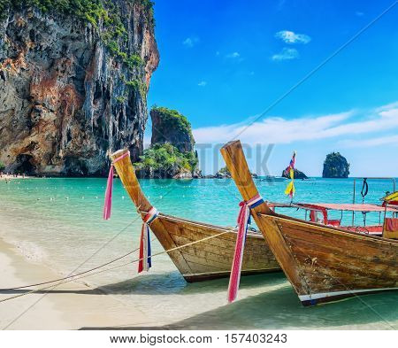 Boats on Phra Nang beach Thailand. Summer seacape.