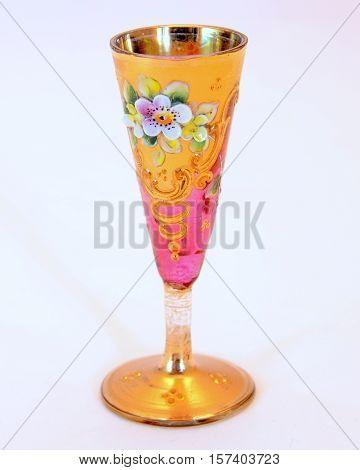 beautiful gilded vintage patterned with a wine glass