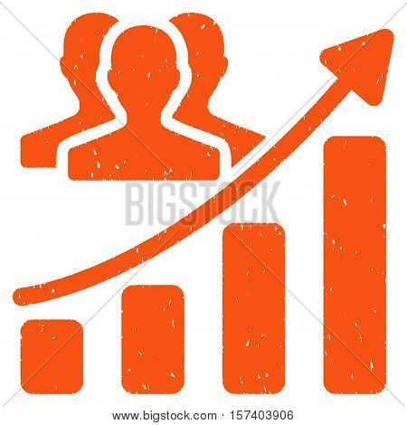Audience Growth Chart grainy textured icon for overlay watermark stamps. Flat symbol with unclean texture. Dotted vector orange ink rubber seal stamp with grunge design on a white background.