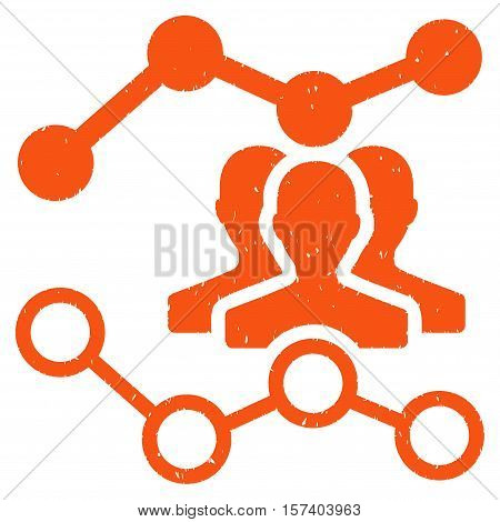 Audience Trends grainy textured icon for overlay watermark stamps. Flat symbol with dirty texture. Dotted vector orange ink rubber seal stamp with grunge design on a white background.