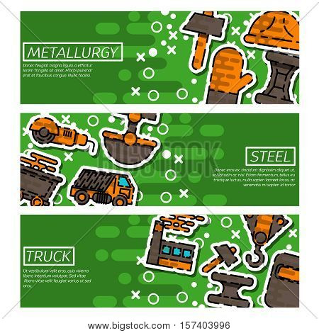 Set of Horizontal Banners about Metallurgy. Vector illustration, EPS 10