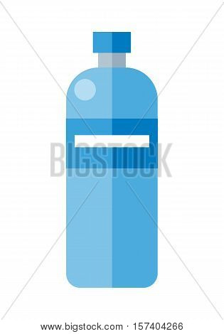 Blue plastic bottle. Illustration of bottle of mineral water. Plastic bottle icon. Retail store element. Simple drawing. Isolated vector illustration on white background.