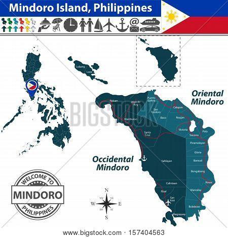 Map Of Mindoro Island, Philippines