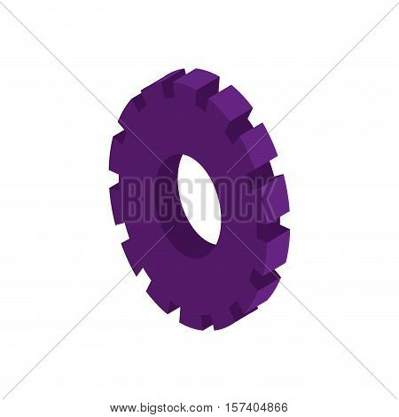 tridimensional silhouette purple gear wheel icon vector illustration