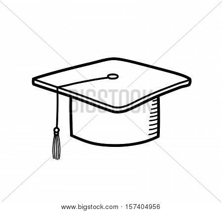 Graduation Cap Bachelor Hat Education. A hand drawn vector doodle illustration of a graduation cap.