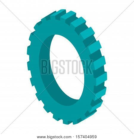 tridimensional silhouette blue gear wheel icon vector illustration