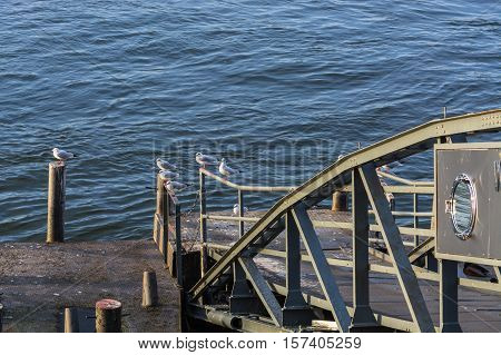 Boat landing stage on the Rhine in Duesseldorf Germany.