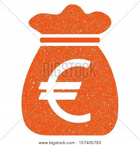Euro Money Bag grainy textured icon for overlay watermark stamps. Flat symbol with dirty texture. Dotted vector orange ink rubber seal stamp with grunge design on a white background.