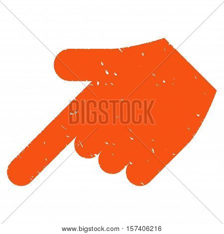 Hand Pointer Left Down grainy textured icon for overlay watermark stamps. Flat symbol with dust texture. Dotted vector orange ink rubber seal stamp with grunge design on a white background.