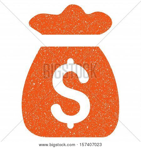 Money Bag grainy textured icon for overlay watermark stamps. Flat symbol with dirty texture. Dotted vector orange ink rubber seal stamp with grunge design on a white background.