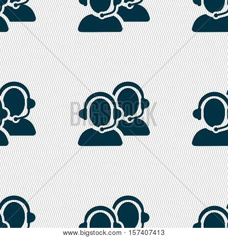 Call Center Icon Sign. Seamless Pattern With Geometric Texture. Vector