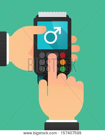 Hands With A Dataphone With A Male Sign