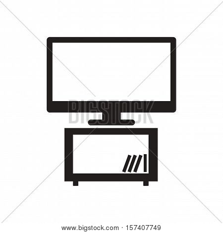 Flat icon in black and  white plasma TV