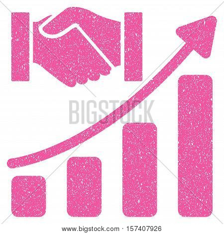 Acquisition Hands Growth Chart grainy textured icon for overlay watermark stamps. Flat symbol with dirty texture. Dotted vector pink ink rubber seal stamp with grunge design on a white background.