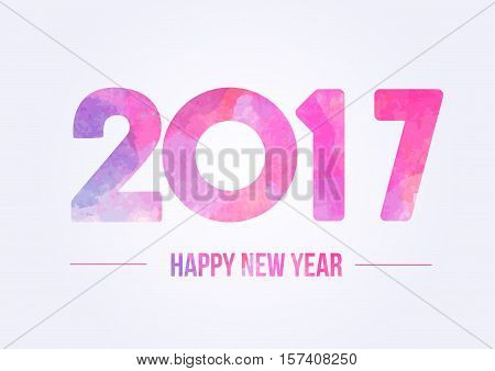 Happy new year 2017. Year 2016 vector design element. Watercolor illustration. Merry Chrstmas Background for dinner invitations, festive posters,promotional depliant, greetings cards.