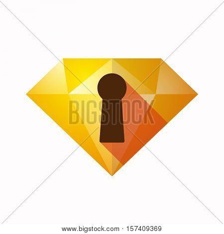 Isolated Diamond With A Key Hole
