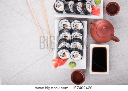 Sushi And Roll With Cream Cheese