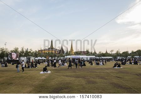 BANGKOK THAILAND - OCT 28 : A crowd of mourners at Sanam Luang while the body of Thailand Bhumibol Adulyadej keep in Grand Palace on october 28 2016