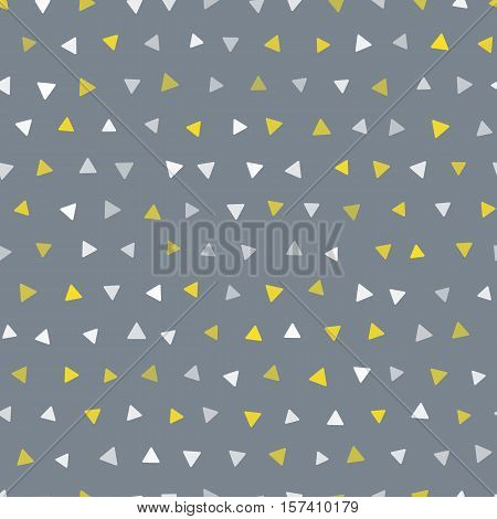 Vector seamless trendy modern triangle spot pattern. Gold and white spots on gray background. Seamless pattern for web print, textile print, wrapping paper, wallpaper, invitation card and scrapbooking