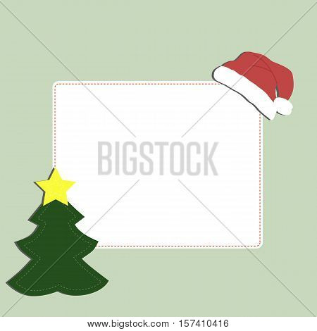 cute baby holiday Christmas square frame on a green background with label spruce and Santa hat. Template for greeting card or poster. Christmas vector illustration. Baby shower