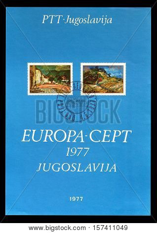 YUGOSLAVIA - CIRCA 1977: Cancelled First Day Sheet printed by Yugoslavia, that shows Europa CEPT stamps.