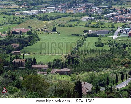 View of the olive groves and plains around Cortona. Tuscany