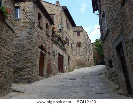 lovely steep and narrow streets of Cortona. Tuscany
