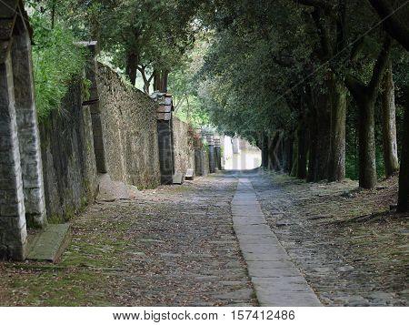 steep stone avenue to the shrine of St. Margaret of Cortona