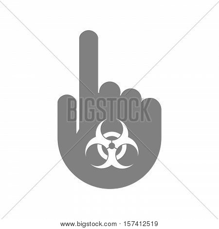 Isolated Hand With A Biohazard Sign