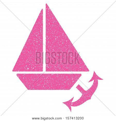 Seaport grainy textured icon for overlay watermark stamps. Flat symbol with scratched texture. Dotted vector pink ink rubber seal stamp with grunge design on a white background.