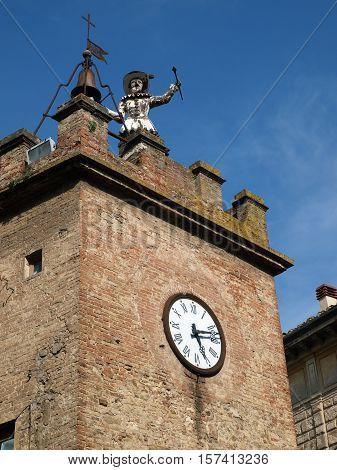 Torre Della Pulcinella Clocktower in Montepulciano Italy.