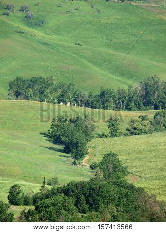 The beautiful landscape of Tuscany. View of the hills between Montepulciano and Pienza