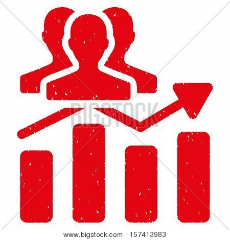 Audience Chart Trend grainy textured icon for overlay watermark stamps. Flat symbol with unclean texture. Dotted vector red ink rubber seal stamp with grunge design on a white background.