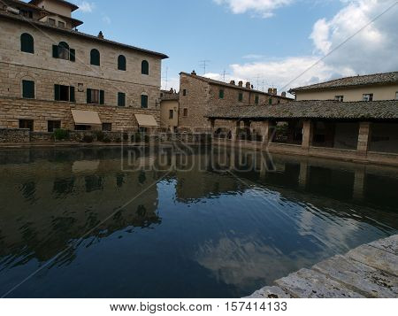 Bagno Vignoni in Tuscany. Spa known for the Middle Ages