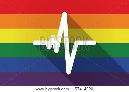 Long Shadow Lgbt Flag With A Heart Beat Sign