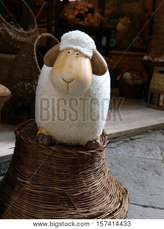 lovely mascots of sheep Pienza. Pienza is famous for its cheese