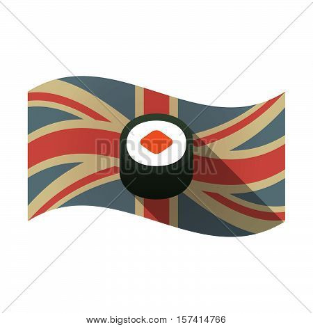Isolated Uk Flag With A Piece Of Sushi Maki