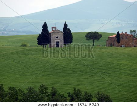 The lonely church Capella de Vitaleta near Pienza Tuscany