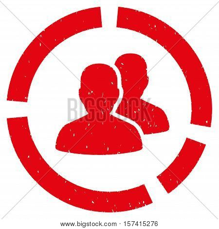 Demography Diagram grainy textured icon for overlay watermark stamps. Flat symbol with dirty texture. Dotted vector red ink rubber seal stamp with grunge design on a white background.