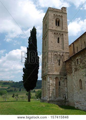 Sant Antimo Abbey near Montalcino in Tuscany Italy