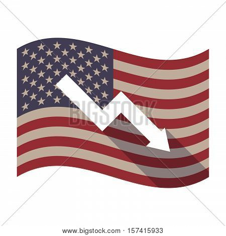 Long Shadow Usa Flag With A Descending Graph