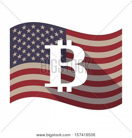 Long Shadow Usa Flag With A Bit Coin Sign