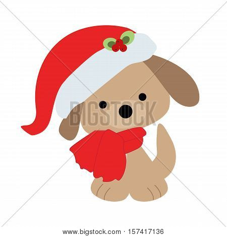 Icon color baby cute Christmas puppy on a white background. Baby vector illustration. Baby shower