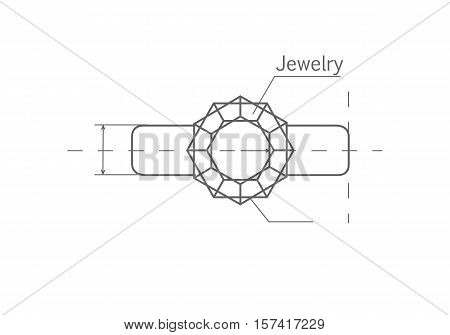 Drawing precious ring with diamond. Vector in flat style design. Designing perfect jewelery. Masterful jeweler work. Illustration for jewelry studio and store ad. Isolated on white background.