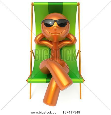 Smiling relaxing man beach deck chair sunglasses summer cartoon character chilling stylized person sun lounger tourist sunbathing rest outdoor vacation lifestyle travel destination. 3d illustration